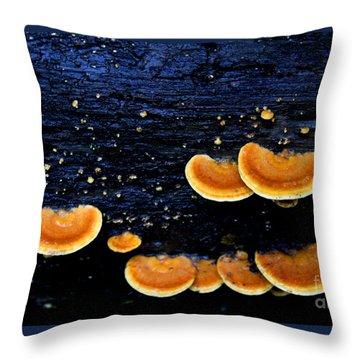 Orange Tree Fungus Throw Pillow