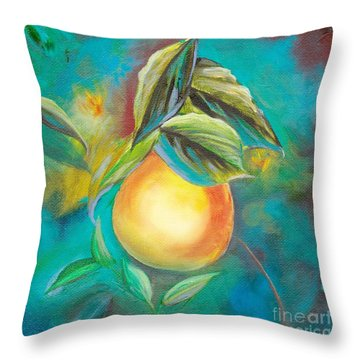 Throw Pillow featuring the painting Orange Tree by Mary Scott