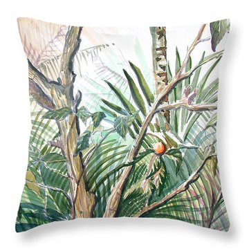 Orange Tree Throw Pillow by Mindy Newman