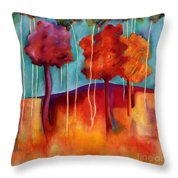 Orange Trees Throw Pillow
