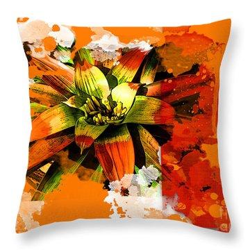 Orange Tropic Throw Pillow
