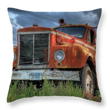 Orange Truck Throw Pillow