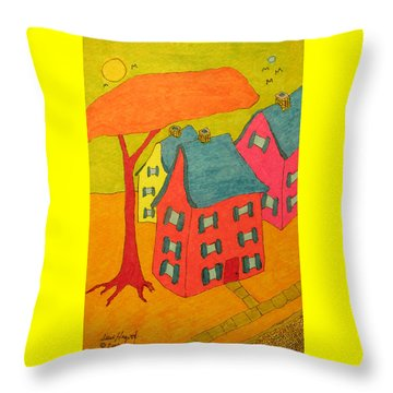 Orange Umbrella Tree And Three Homes Throw Pillow