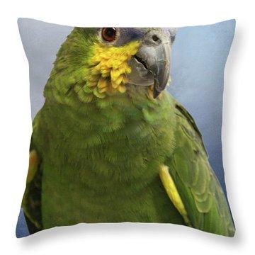 Orange Wing Amazon Parrot Throw Pillow