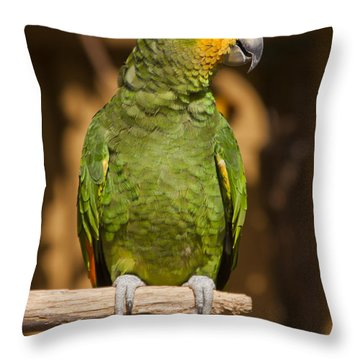 Orange-winged Amazon Parrot Throw Pillow