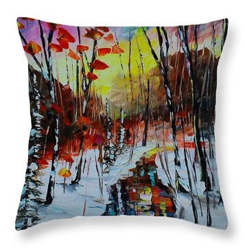 Orange Winter Throw Pillow