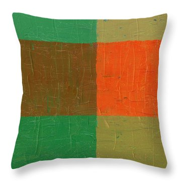 Orange With Brown And Teal Throw Pillow by Michelle Calkins