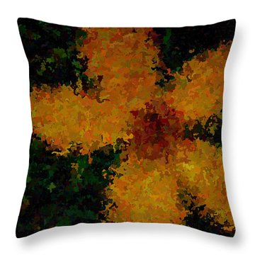 Orange-yellow Flower Throw Pillow by April Patterson
