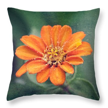 Orange Zinnia Throw Pillow