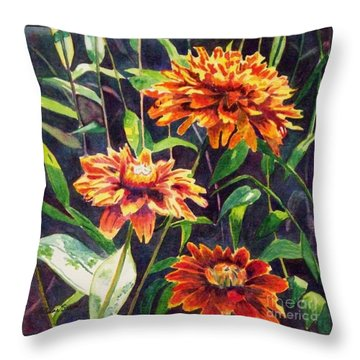 Throw Pillow featuring the painting Orange Zinnias by LeAnne Sowa