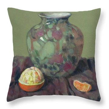 Oranges And Floral Porcelain Vase Throw Pillow