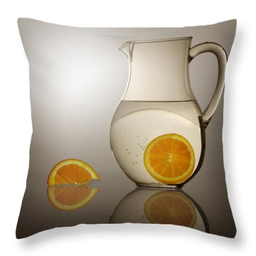 Throw Pillow featuring the photograph Oranges And Water Pitcher by Joe Bonita