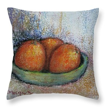 Oranges In Celadon Bowl Throw Pillow