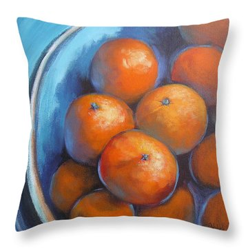 Throw Pillow featuring the painting Oranges On Blue Acrylic Original Painting by Chris Hobel
