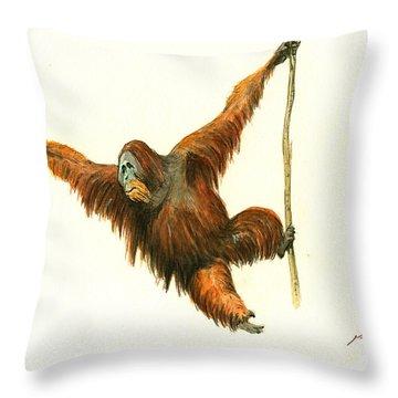 Orangutan Throw Pillow by Juan Bosco
