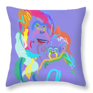 Throw Pillow featuring the painting Orangutan Mom And Baby by Go Van Kampen