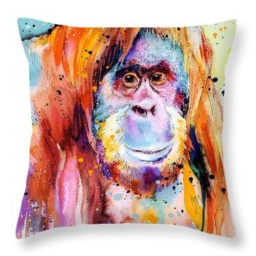Orangutan  Throw Pillow by Slavi Aladjova
