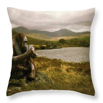 Orangutan With Smart Phone Throw Pillow by Amanda Elwell
