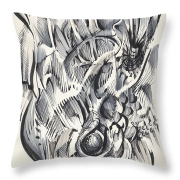 Throw Pillow featuring the drawing Orbit by Keith A Link