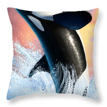 Orca 1 Throw Pillow by Jerry LoFaro