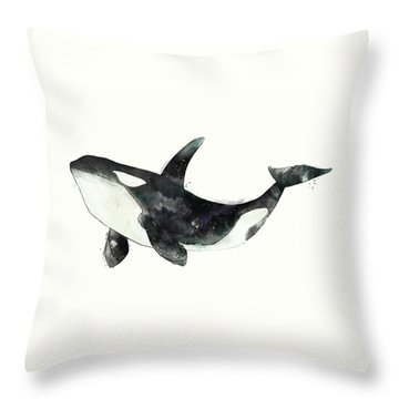 Orca From Arctic And Antarctic Chart Throw Pillow