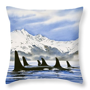 Orca Throw Pillow by James Williamson