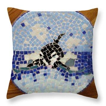 Orca Mosiac Throw Pillow by Jamie Frier