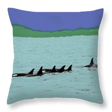 Orca Pod Throw Pillow by Al Bourassa
