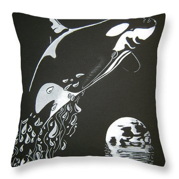 Orca Sillhouette Throw Pillow by Mayhem Mediums