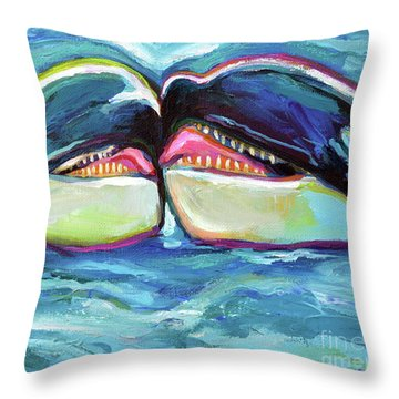 Throw Pillow featuring the painting Orca Valentine by Robert Phelps