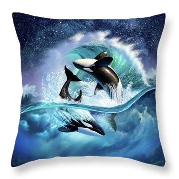 Orca Wave Throw Pillow