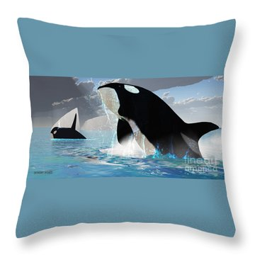 Orca Whales Throw Pillow by Corey Ford