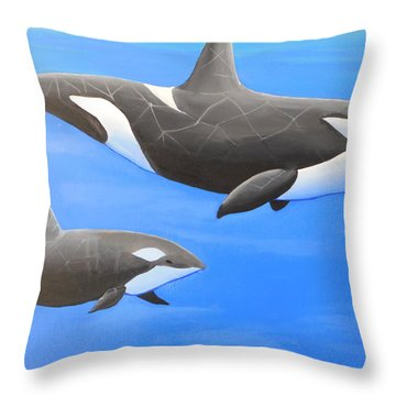 Orca With Baby Throw Pillow