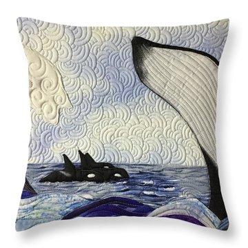 Orcas At Play Throw Pillow