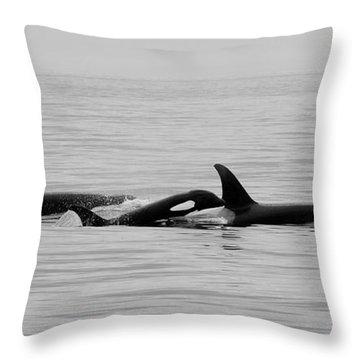 Orcas Bw Throw Pillow