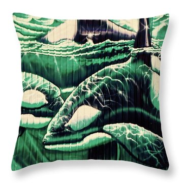 Orcas Campbell River Mural Throw Pillow