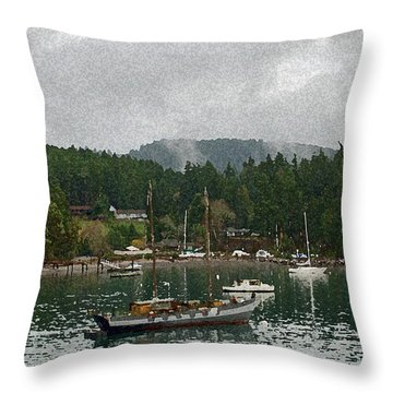 Orcas Island Digital Enhancement Throw Pillow