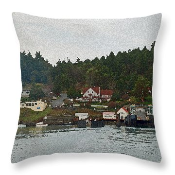 Orcas Island Dock Digital Throw Pillow
