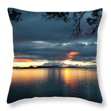 Orcas Island Sunset Throw Pillow by Lorraine Devon Wilke