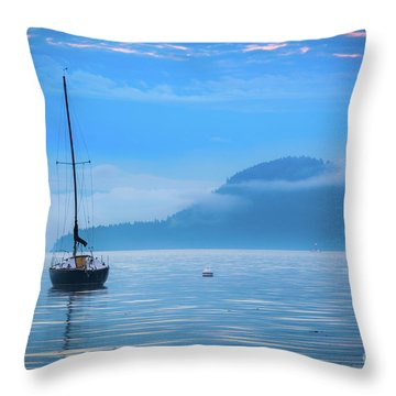 Orcas Sailboat Throw Pillow by Inge Johnsson