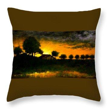 Orchard Sundown Throw Pillow