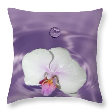 White Orchid Water Drop Throw Pillow