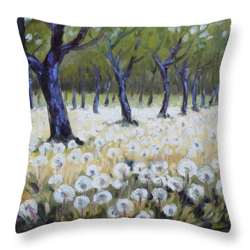 Orchard With Dandelions Throw Pillow