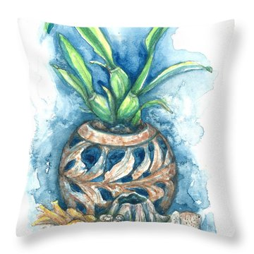 Orchid And Barnacle Throw Pillow by Ashley Kujan