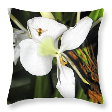 Orchid And Bee Throw Pillow