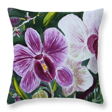 Throw Pillow featuring the painting Orchid At Aos 2010 by Donna Walsh