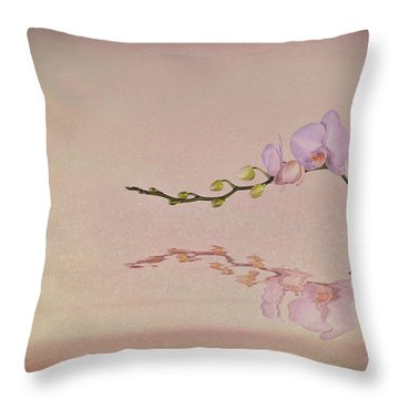Orchid Blooms And Buds Throw Pillow
