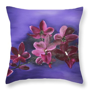 Orchid Blossoms On A Stem Throw Pillow