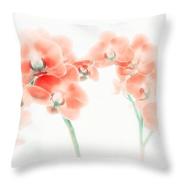 Orchid Collection 'soft Red' Throw Pillow