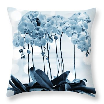 Orchid Flowers Blue Tone Throw Pillow by Charline Xia